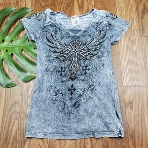 Womans BLING cross top size SMALL